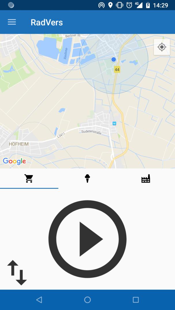 Hauptbildschirm der Android-App